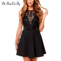 DeRuiLaDy Woemn Sleeveless Lace Stitching Summer Dress Sexy Backless Black Pleated Dresses Party Mini Casual Dress