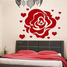 Rose Flower Pattern Wall Decal Master Bedroom Headboard Heart Sticker For Kids Rooms Art Mural Design Home Decor DIY SYY707