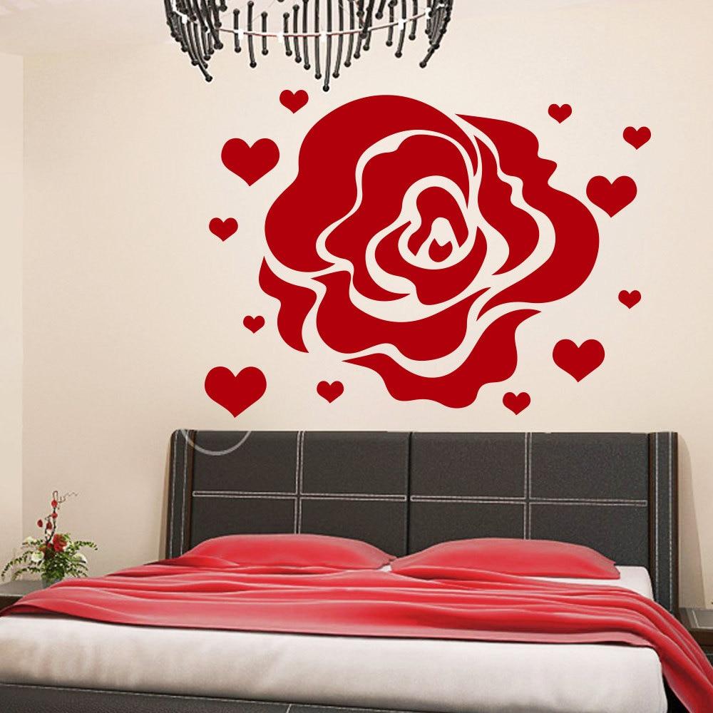 Decoration Murale Pour Tete De Lit €6.44 30% de réduction|rose fleur motif mur décalcomanie maître chambre  tête de lit coeur mur autocollant pour enfants chambres art mural design  décor