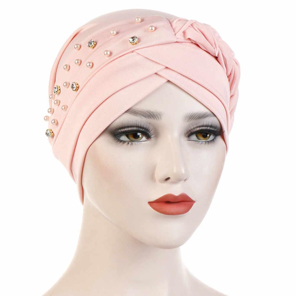 7d147bf3b Hat Muslim Cancer Chemo Cap Hijab Head Wrap Hair Loss Head Scarf Women Cute  Fashion Bandana Ladies Elastic Beads Braid Turban