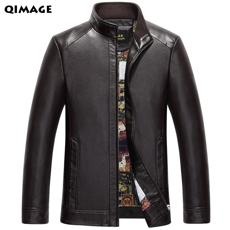 Men's Leather Jackets Spring and Autumn Slim Fit Faux Leather Jacket Casual Coats Stand Collar Men PU Leather Large Size XXXL hanqiu leather jacket men winter autumn pu faux leather solid jackets slim fit zipper pocket stand collar casual men jacket