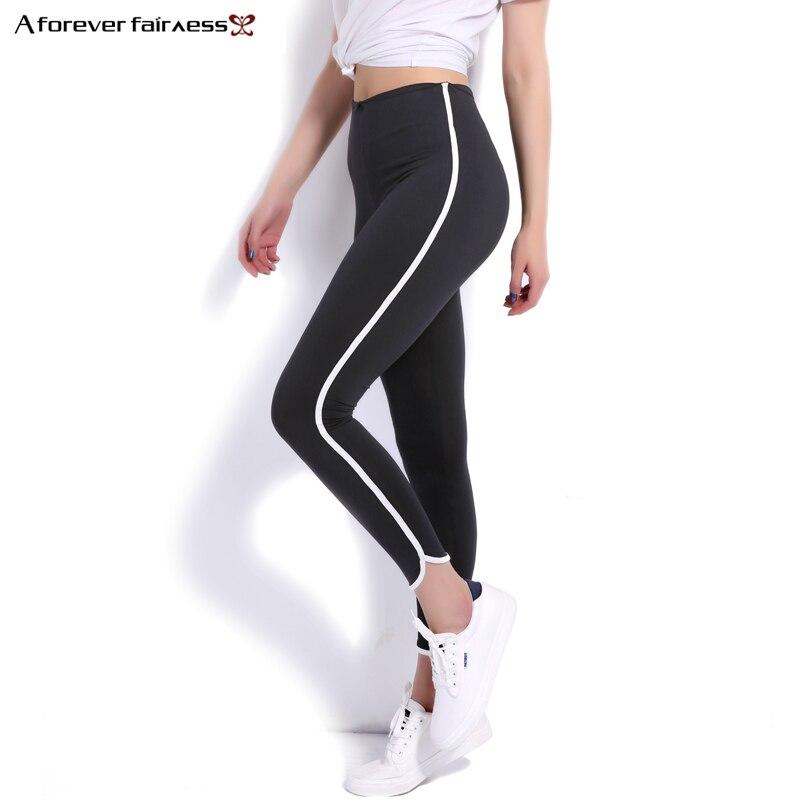 A Forever 2017 Spring Women Leggings Slim Stretch Black High Waist Pencil Pant Leggings Side White Pipeline Down Legging NC-1161