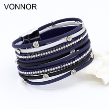 купить Women Fashion Bracelet Multilayer Leather Rope Inlay Rhinestone Magnet Clasp Bangles Bracelets High Quality Jewelry Dropshipping в интернет-магазине