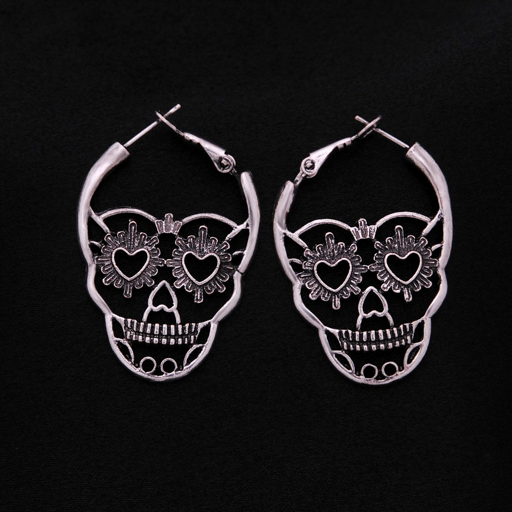 Vintage Skull Hoop Earrings for Women
