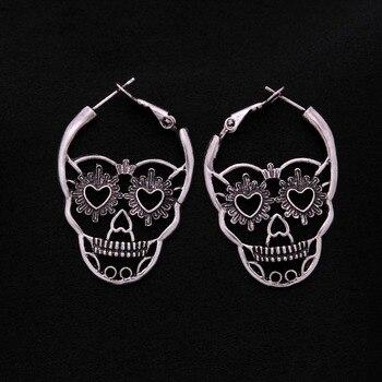Vintage Antique Silver Color Love Heart Eyes Skull Hoop Earrings