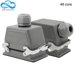 Rectangular heavy duty connector h48b-he-048 needle aviation plug interface top line and side line 16 a500v double set screw