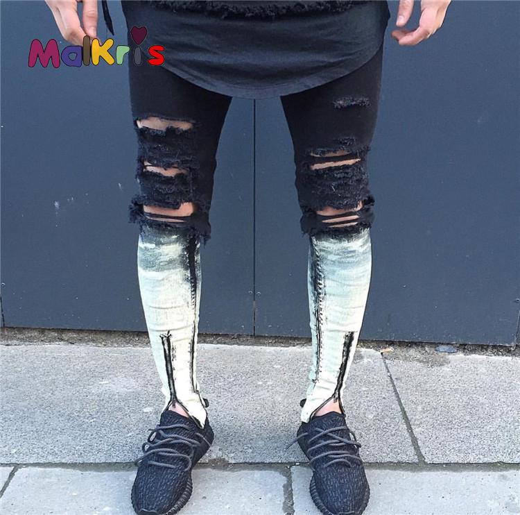 Malkris Men's Motorcycle Biker Jean Fake Designer Clothes Moto Jeans Trousers Hole Ripped Jeans High Street Vintage Pencil Pants 2016 new spring summer jeans men high quality ripped biker jean pantalones vaqueros hombre new famous brand mcalca jeans