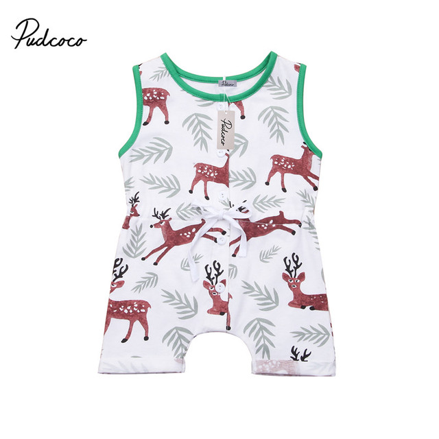 c13bcce55b64 Kid Newborn Summer Clothes Toddler Baby Boy Girl Sleeveless Deer Romper  Outfits Sunsuit 0-24M