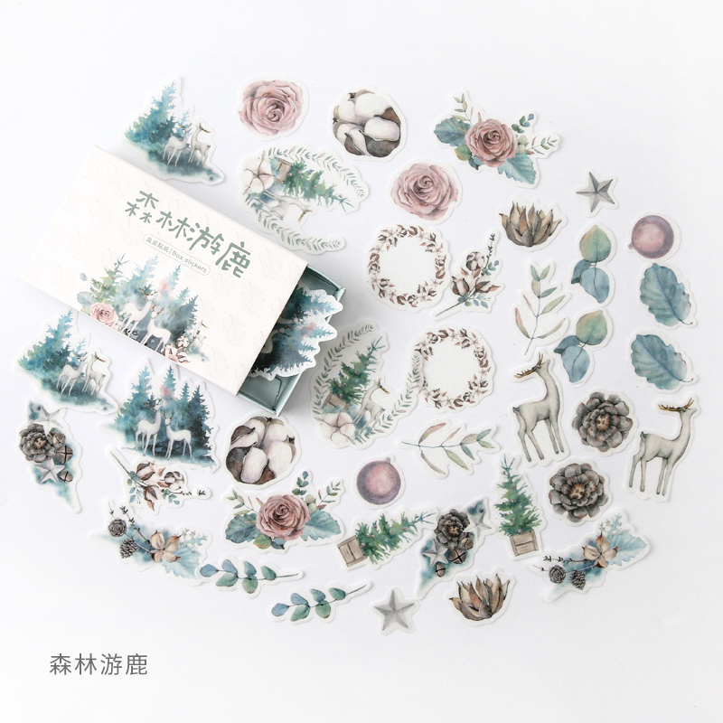 Forest Deer Green Bullet Journal Decorative Stationery Stickers Scrapbooking DIY Diary Album Stick Lable
