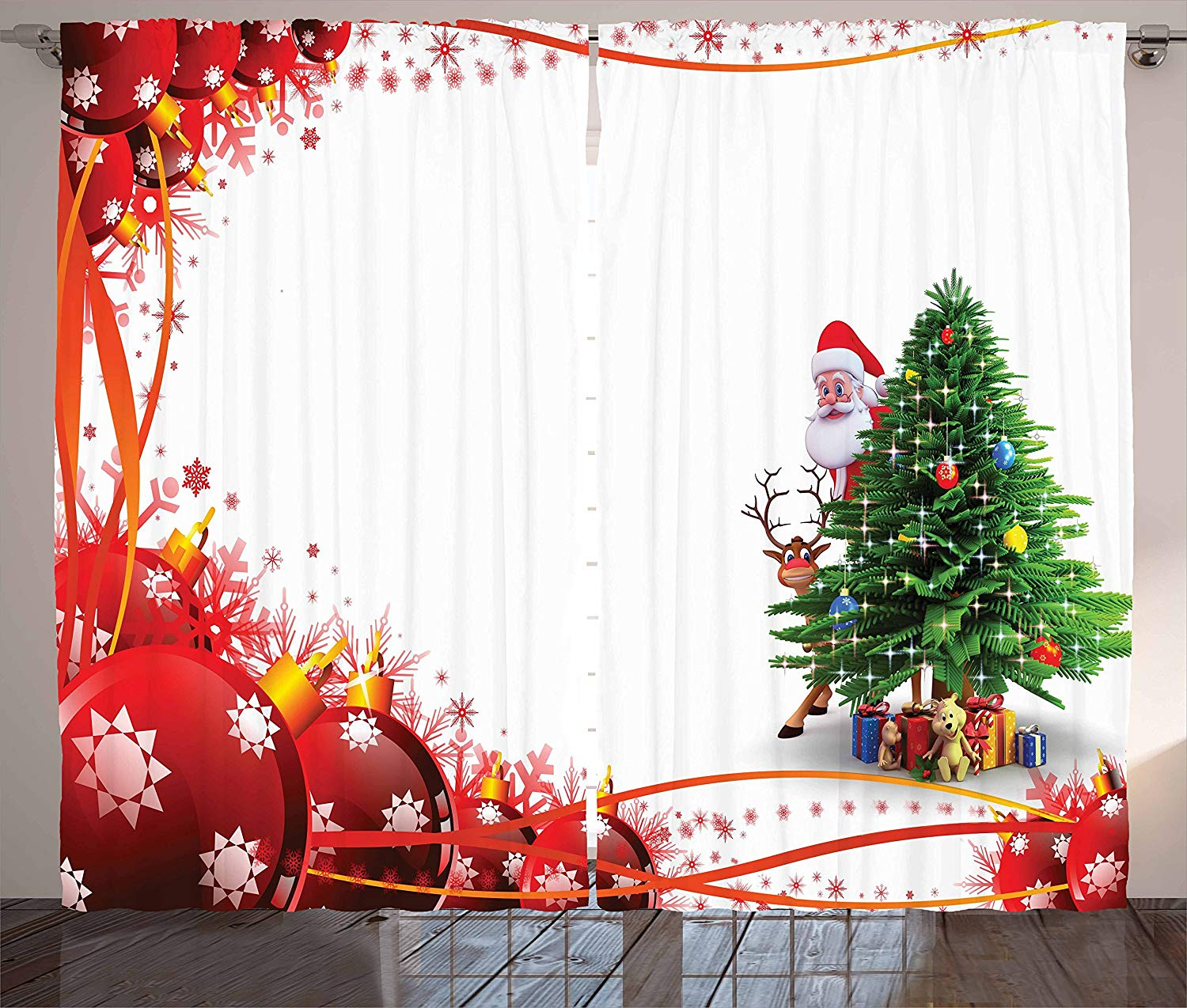 Santa Curtains Father Christmas And Reindeer Smiling Behind A Festive Pine Tree In Red Balls Frame Living Room Bedroom Window