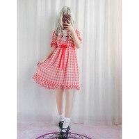 Summer Girls Lolita Plaid Dress Fashion Kawaii Shiny Japanese Brand Korea Lace Chiffon Sweet Teens Maid Dresses Vitorian Costume