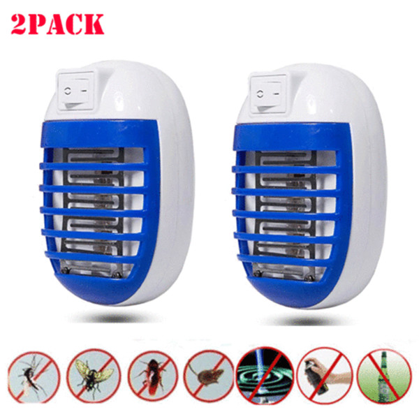 2PCS LED Socket Electric Mosquito Fly Bug Insect Trap Killer Zapper Night Lamp
