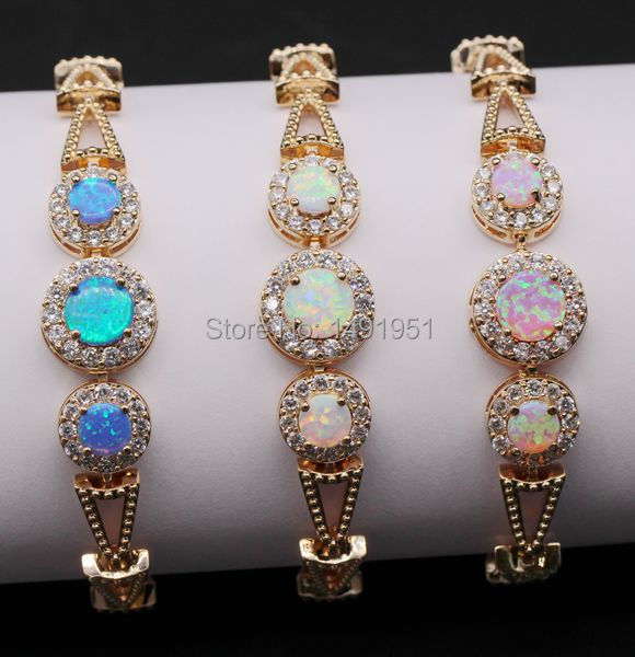 Classic Bohemia style Hollow-out Charm Gold Color Fire Opal AAA Cubic Zirconia Bracelet Bangle 6colors punk style pure color hollow out ring for women