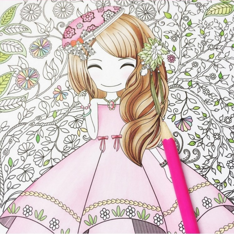 Flower Girl Secret Garden Coloring Book Ancient Style Painting Book Children Coloring Graffiti Picture Book