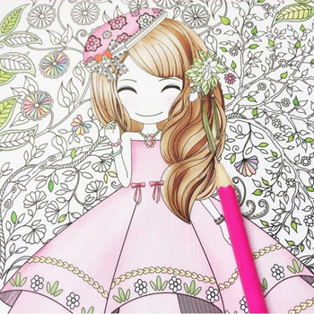 Flower girl secret garden coloring book ancient style painting children graffiti picture