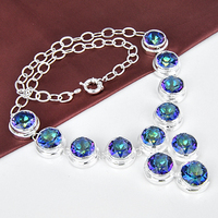 Hot Sale 2colors Round Rainbow Crystal Necklaces For Women Wedding Jewelry Silver Plated