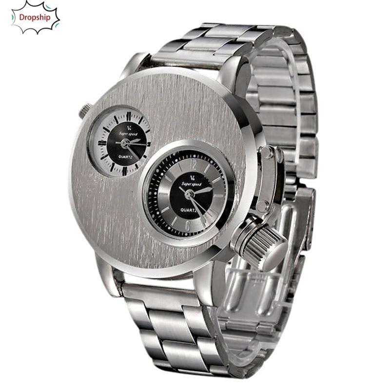 OYOKY moda nuevo Mens deporte de la fecha del acero inoxidable reloj de cuarzo analógico 18Oct5