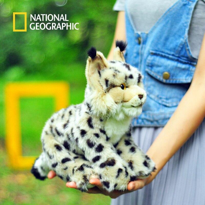National géographique bébé 25 cm doux en peluche lynx jouets en peluche animaux avec étiquette
