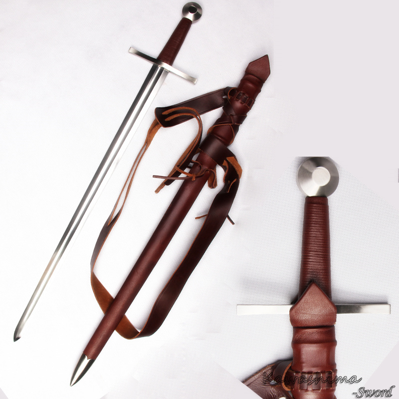 Handmade Medieval Sword Spring Steel Full Tang Blade Assembly Professional For Battle-Wood Sheath Wrapped With Real Leather