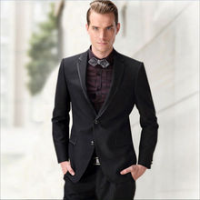 2016 Custom Made Hnadsome Black Men 3 Piece Suits Jacket Slim Fits Suits Tuxedos Men's Wedding Suits Formal Party Suits