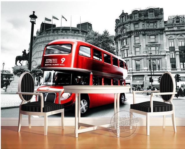 Home Decoration European Retro Double Decker Bus London Wall Murals