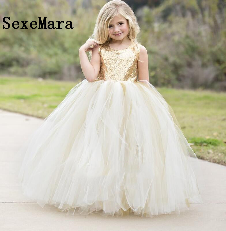 372fbb87266 Ivory Champagne tulle Gold Sequins Puffy Flower Girls Dresses for wedding  keyhole back baby long tutu dress first birthday gown