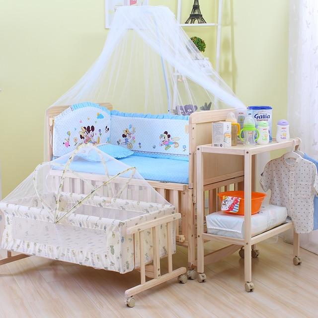 6 en 1 bebé juego de cama, cuna infantil cuna y mover estante, la ...