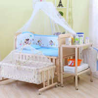 6 in 1 baby bed set, infant crib cradle and move shelf ,height can adjust bed crib, pine baby cot with wheels