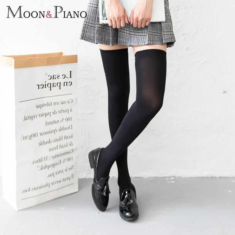 Женские бархатные носки, летние сексуальные теплые длинные носки выше колена, Нескользящие эластичные однотонные носки для косплея в студе...