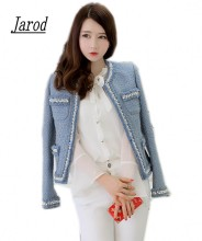 Autumn Winter Women Jacket font b Coat b font 2017 Luxury Sky Blue Beading Pearls Wool