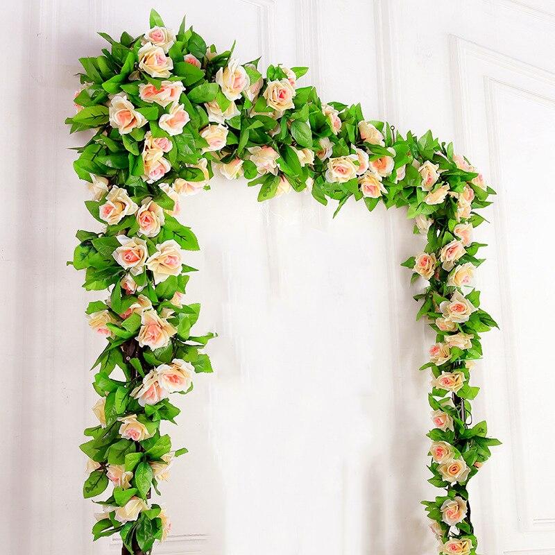 Artificial Decorations Festive & Party Supplies Simulation Plant Rose Leaf Vine 5ft 7ft Long Rattan Wedding Ceiling Decoration Artificial Creeper Rattan Pipe Home Decoration