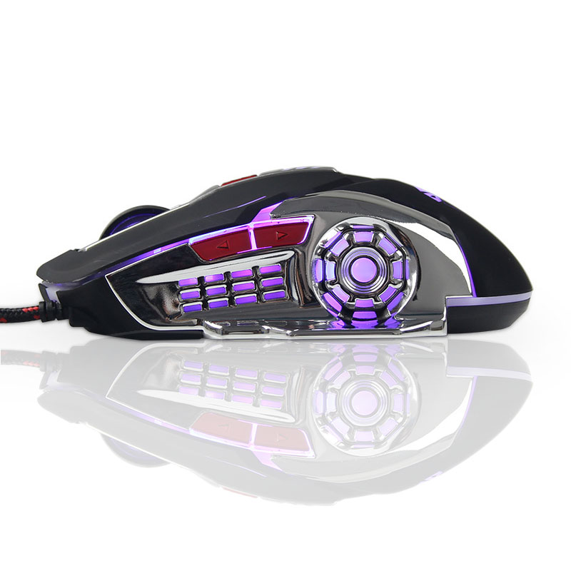 2017 Gaming Mouse Computer Wired Glow Macro Definition Մասնագիտական ​​մկներ 6 կոճակներ 3200DPI USB Optical Laptop Desktop- ի համար