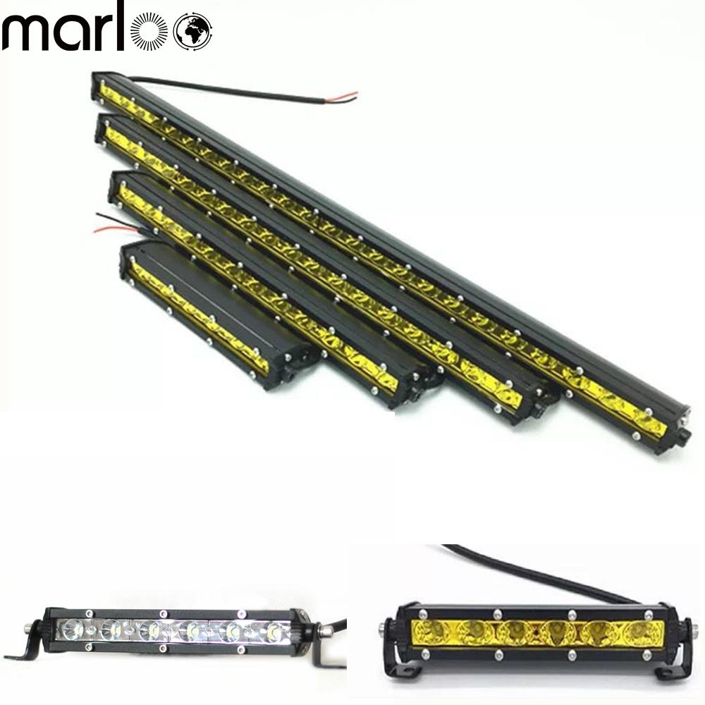 Marloo 18w 36w 54w 72w 90w Super Slim Single Row White Yellow Led Light Bar Offroad Work Driving Lamp Spot Off Road Auto 12V 24V