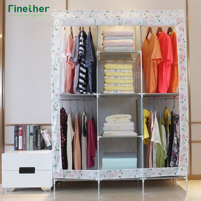 Finether Floral Print Double Modular Metal Framed Fabric Wardrobe Closet  Large And Medium Sized Cabinets