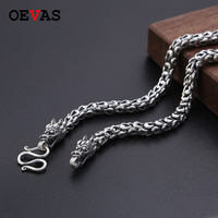 Heavy 6MM Sold S925 Thai Silver Dragon head Necklaces for Men Rretro 925 Sterling Silver 50 65cm Chain Necklaces Dropshipping