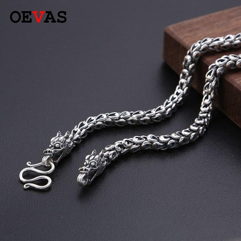 Lourd 6 MM vendu S925 Thai argent tête de Dragon colliers pour hommes Rretro 925 argent Sterling 50-65 cm chaîne colliers livraison directe