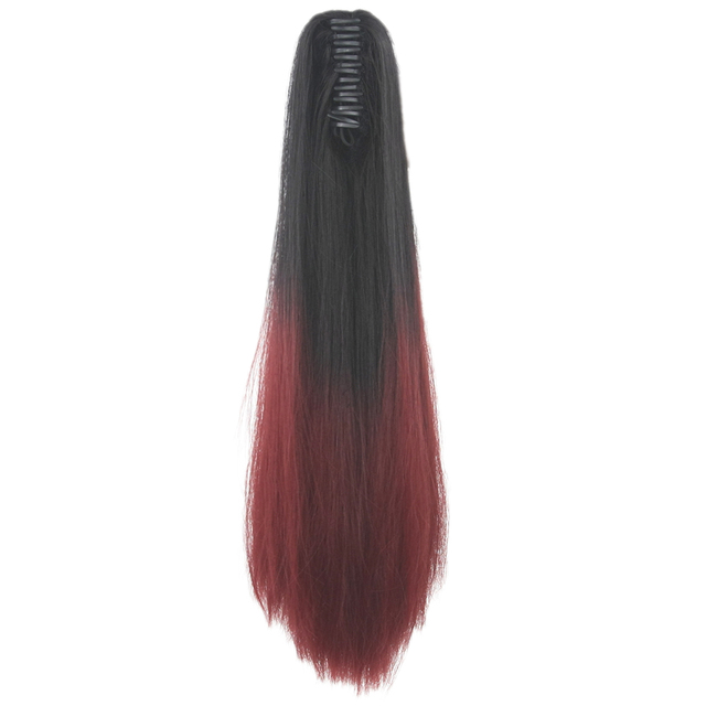Soowee Synthetic Black To Burgundy Straight Ombre Hair Extension