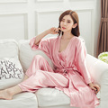 3 Pic Women Sexy Red Solid Color Silk Robe Gown Brand New Summer Style Nightgown Sleepwear Kimono Yukata With Belt