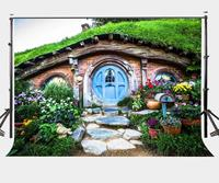 150x220cm Hobbit Cave Backdrop Green Grass Beautiful Garden Stone Steps Road Photography Background