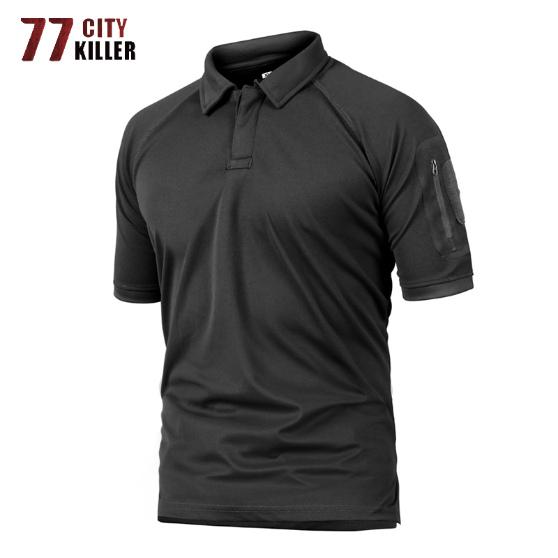 77City Killer Summer Tactical Military <font><b>Polo</b></font> <font><b>Shirt</b></font> <font><b>Men</b></font> Army Camo <font><b>Polo</b></font> <font><b>Shirt</b></font> Man's Breathable <font><b>Quick</b></font> Drying Arm Pocket <font><b>Polo</b></font> <font><b>Shirts</b></font> image