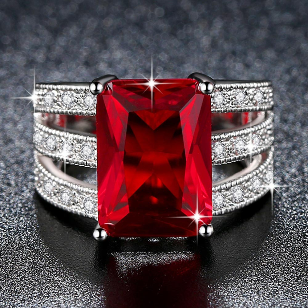Beiver Exquisite Huge Red AAA CZ Ring for Women Rhodium Plated Micro Pave Cubic Zirconia Jewelry