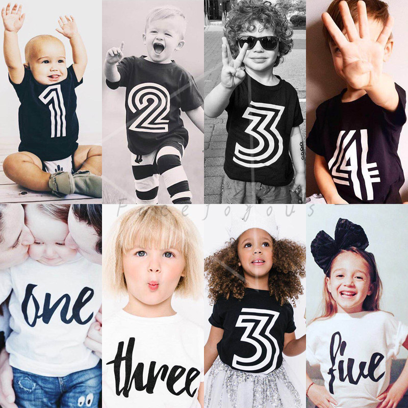2018 New T-shirt For Girls Boys Baby Summer Clothes Kids Cotton T-shirts Chidren Casual Tops & Tees Birthday Gift