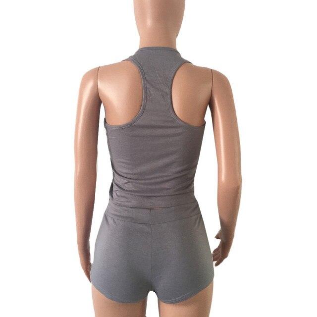 Libre de avestruz 2 uds para mujer Fitness elástico Racerback camiseta sin mangas + Pantalones cortos juego de sujetador conjunto elástico Sexy ceñido ropa C2635 4