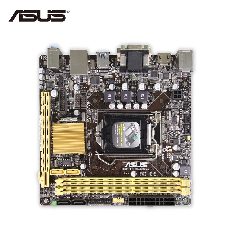Asus H81I-PLUS Desktop Motherboard H81 Socket LGA 1150 i7 i5 i3 DDR3 16G SATA3 USB3.0 Mini-ITX Second-hand High Quality asus maximus vii ranger desktop motherboard m7r z97 socket lga 1150 i7 i5 i3 ddr3 32g sata3 atx second hand high quality