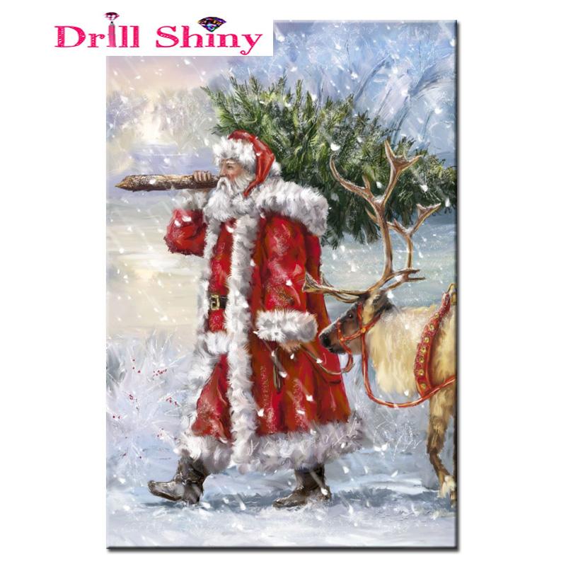 New Year Drill Shiny 5d Diy Diamond Painting Santa Claus Christmas