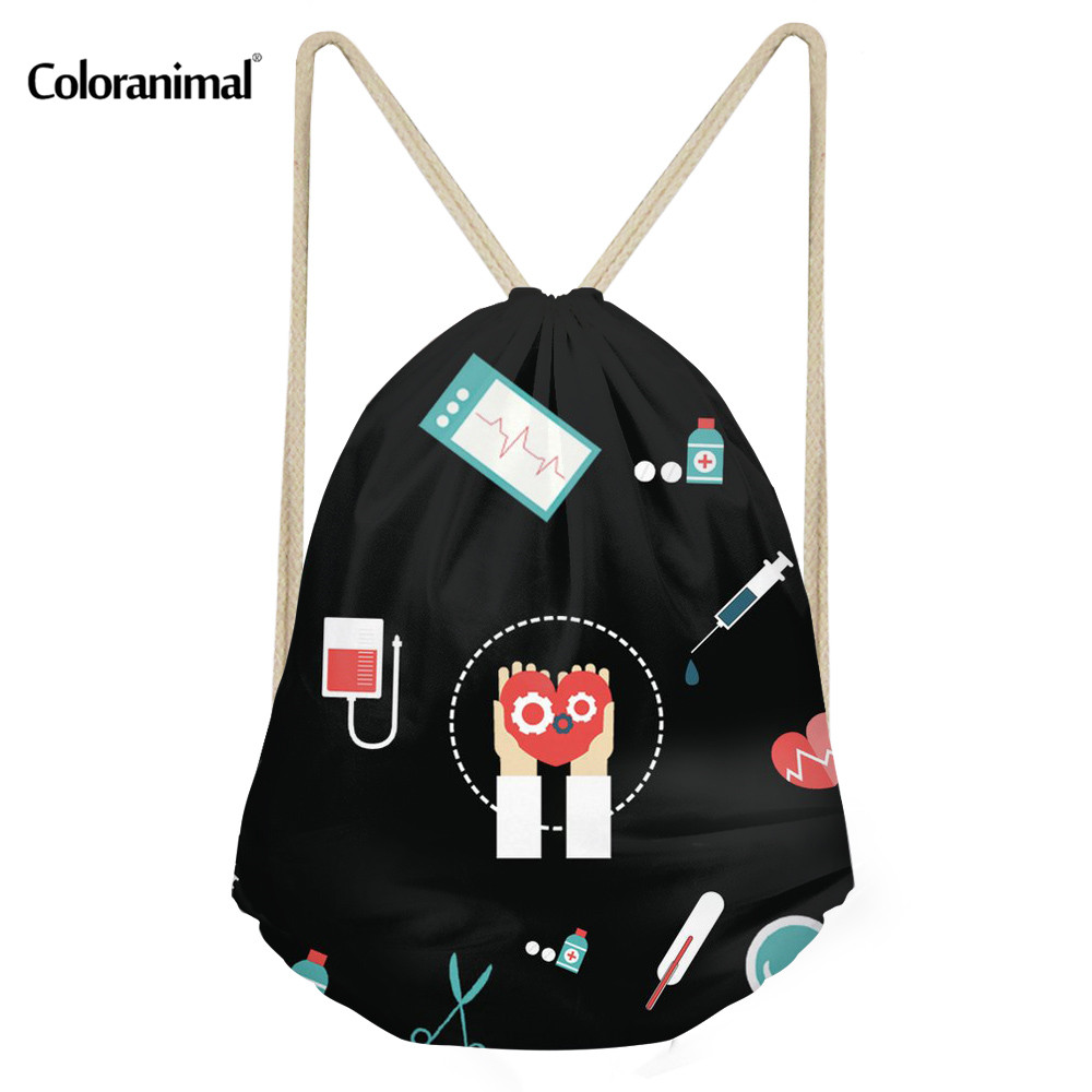 Coloranimal 3D Nurse Medical Print Drawstring Bags Girl Boy Casual Mini Backpack Schoolbags Women Men String Shoulder Sack Bags