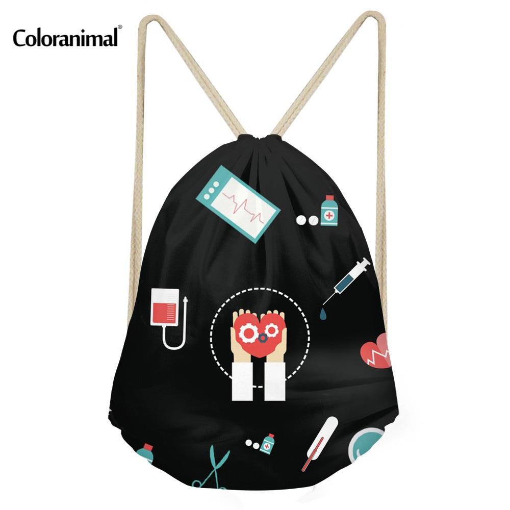 Coloranimal 3D Nurse Medical Print Drawstring Bags Girl Boy Casual Mini Backpack Schoolbags Women Men String Shoulder Sack Bags