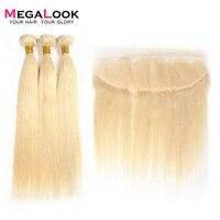 Megalook 613 прямые пучки волос с фронтальным перуанским кружевом спереди с Remy человеческие волосы для наращивания