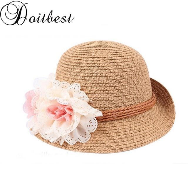 1e1ffdb6fad24 Doitbest three flowers boys girls Straw Hats Summer Sun Hats for child  children Travelling Beach Hats kids sunscreen cap