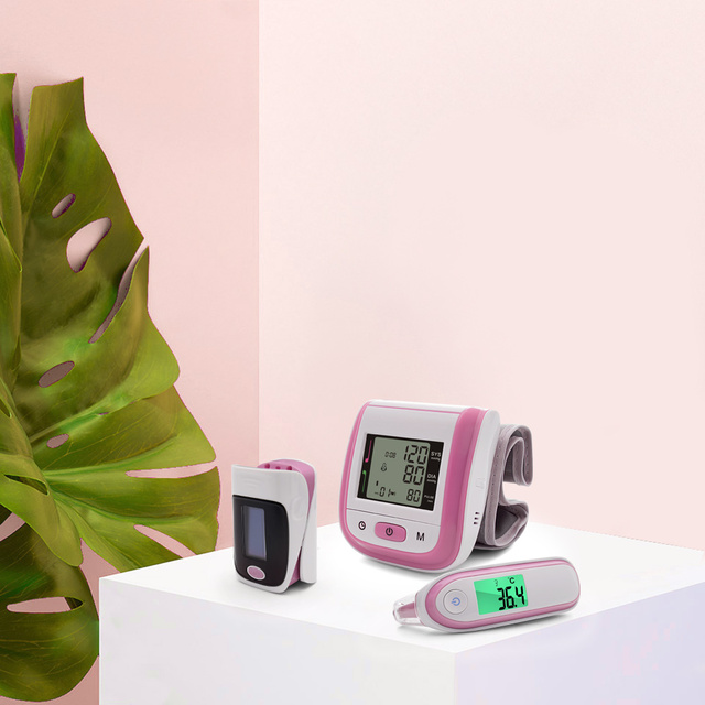 Yongrow Digital Medical Pulse Oximeter SpO2 Wrist Blood Pressure Monitor Ear Infrared Thermometer Oxygen PR Sphygmomanometer 8